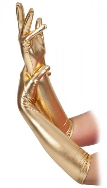 Lange Divana Handschuhe In Metallic Gold