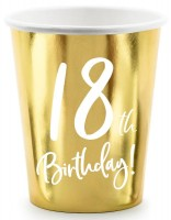 6 Glossy 18th Birthday Becher 220ml