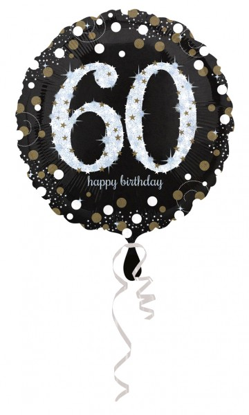 Golden 60th Birthday foil balloon 43cm