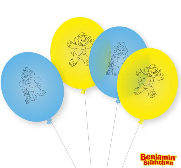 8 Benjamin Blümchen Latexballons gelb-blau