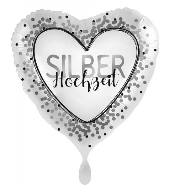 Ballon argenté en forme de coeur de mariage 45cm