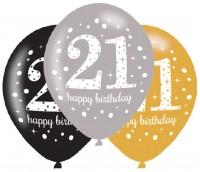 6 Golden 21st Birthday Ballons 27,5cm
