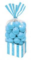 10 Gestreifte Candy Buffet Tüten azurblau