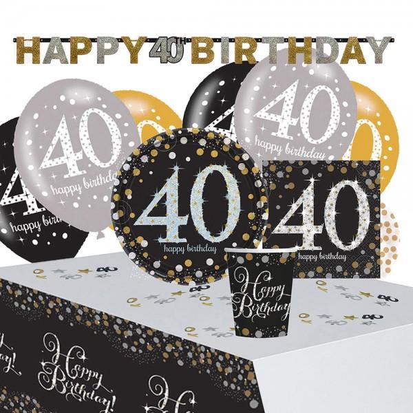Golden 40th Birthday Deko Set 41-teilig
