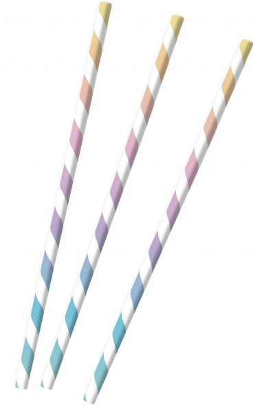 12 gestreifte Papier Strohhalme pastell