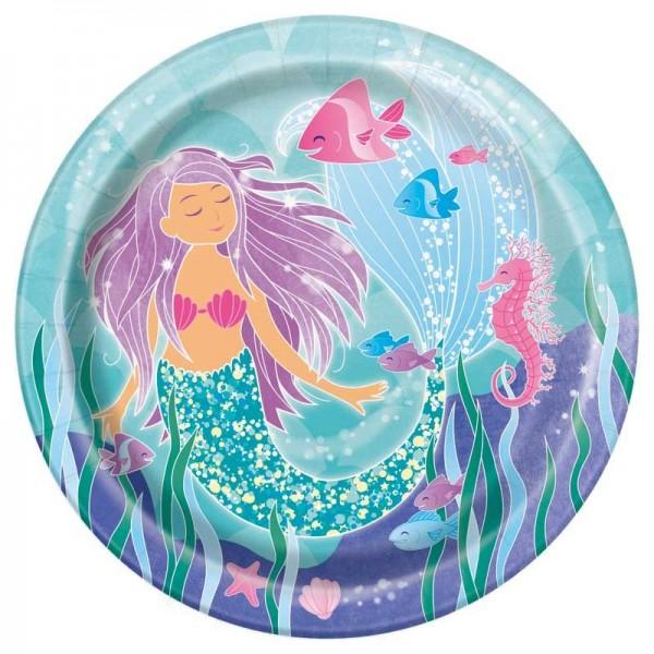 8 Zauberhafte Meerjungfrau Sirena Pappteller 23cm
