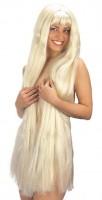 Perruque XXL cheveux longs blond 100cm