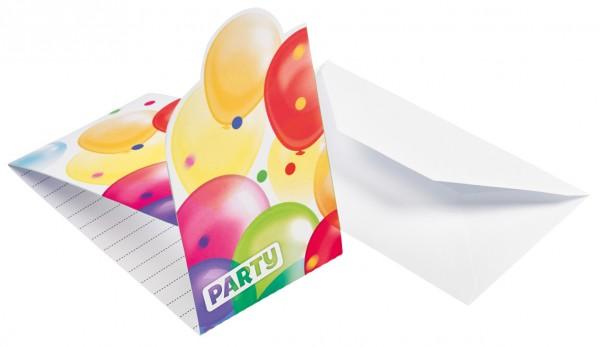 8 Balloon Carnival Einladungskarten