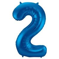 XXL Zahlenballon 2 blau 86cm