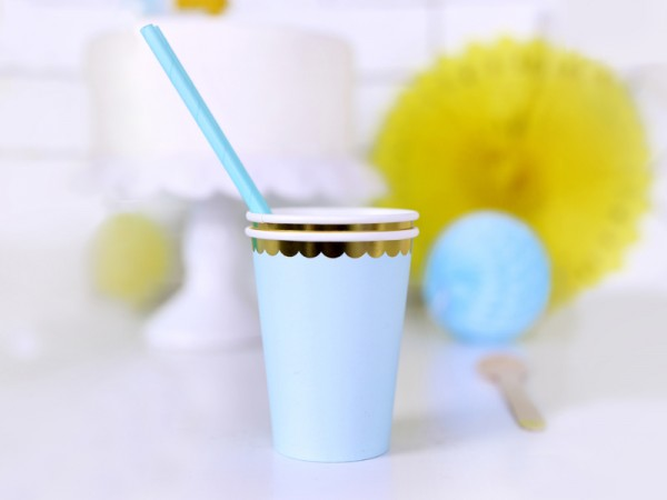 6 Candy Party Paper Cups pastel blue 220ml