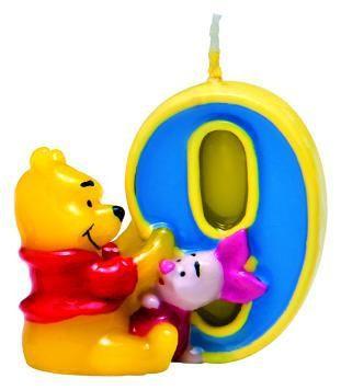 Winnie Pooh & Ferkel Friendship Tortenkerze Zahl 9