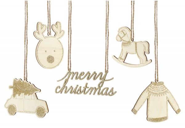 10 houten kerstlabels naturel