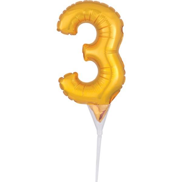 Globo dorado número 3 decoración pastel 15cm