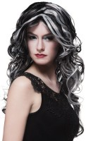 Perruque cheveux longs Pervita en noir et gris