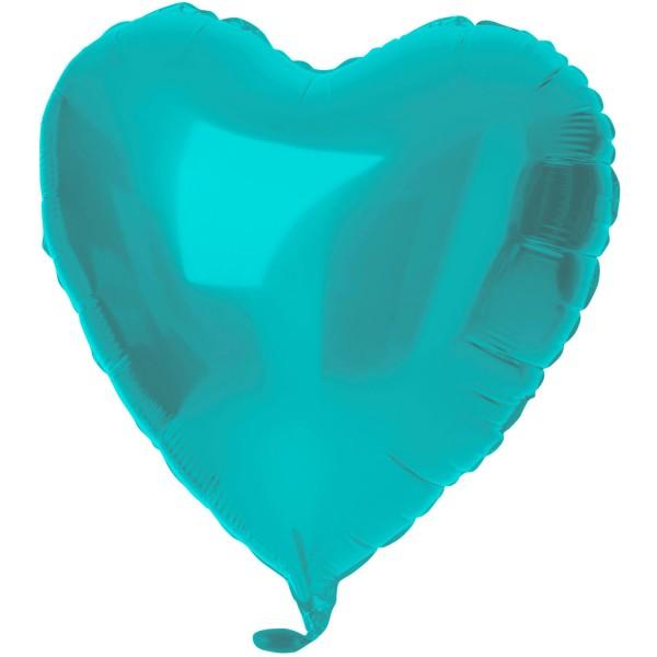 Herz Folienballon Crystal aqua 45cm