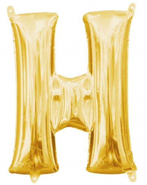 Mini globo foil letra H dorado 35cm