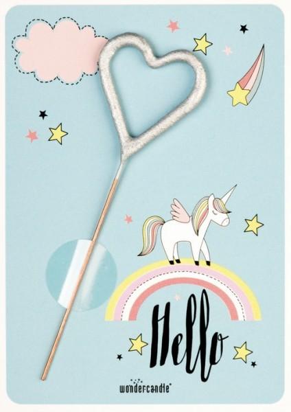 Unicorno azzurro Wondercard Hello