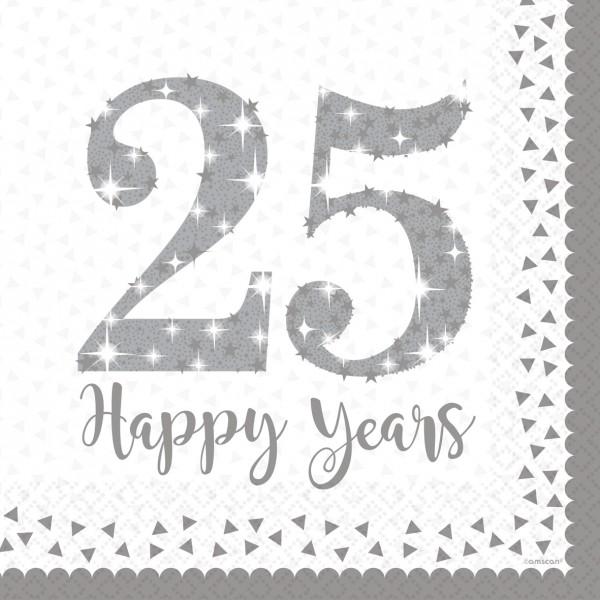 16 serviettes Sparkling 25 ans