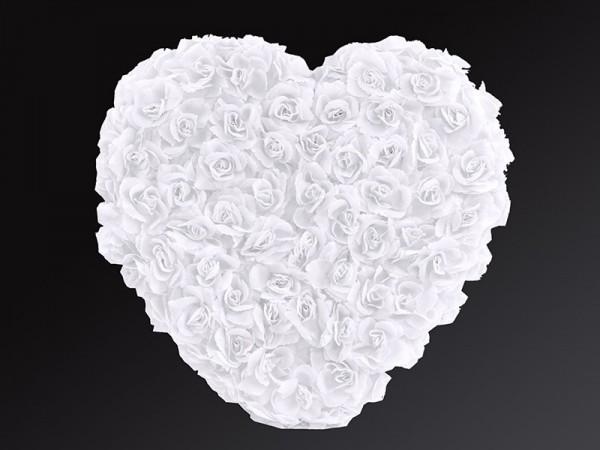 Weißes Herz aus Rosen Autodeko 50cm 1