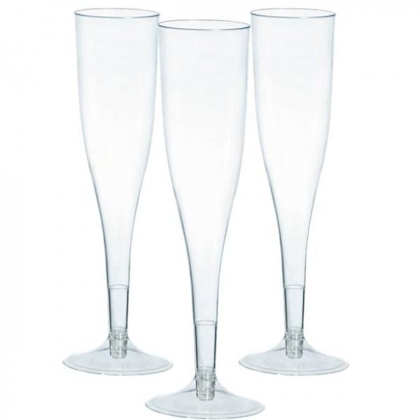 20 verres à champagne en plastique transparent 162ml