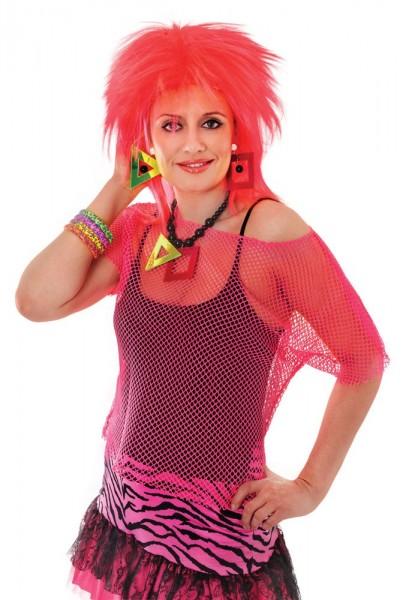 Chemise en résille rouge des années 80