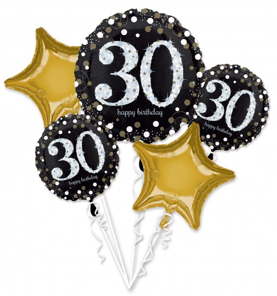 Golden 30th Birthday Ballon Bouquet