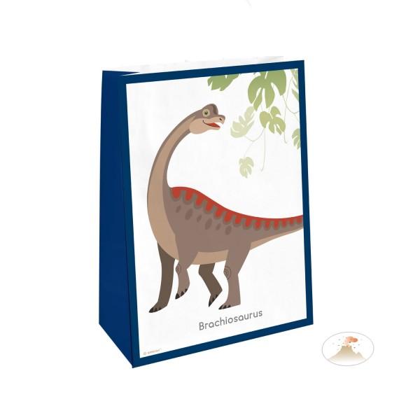 4 sacs-cadeaux Happy Dinosaur avec des autocollants