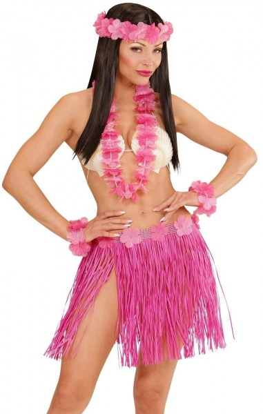 Pink Hawaii hula girl costume set for women