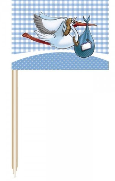 Baby Boy Cocktail Sticks stork motif