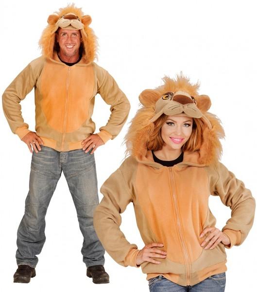 Plush lion sweatshirt jacket