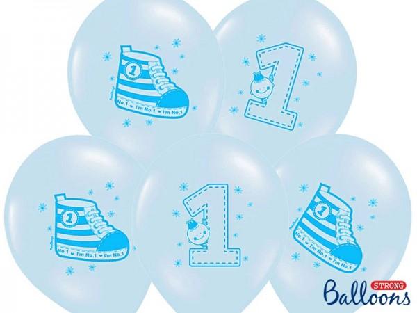 6 Playful 1st Birthday Luftballons 30cm