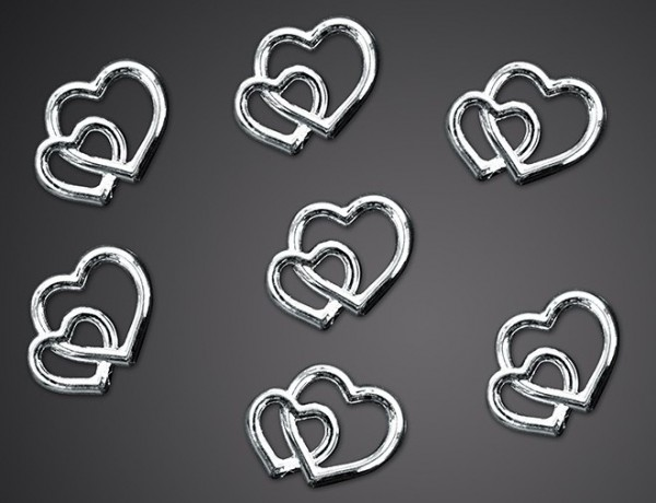 25 sprinkle decoration wedding hearts silver
