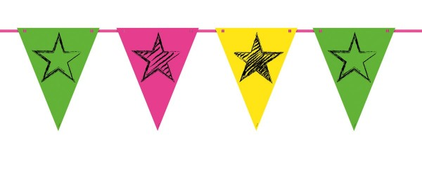 6m neon star party wimpel ketting