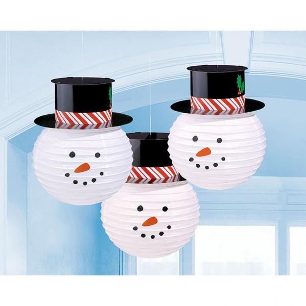 3 Happy Snowman Lanterns 24cm