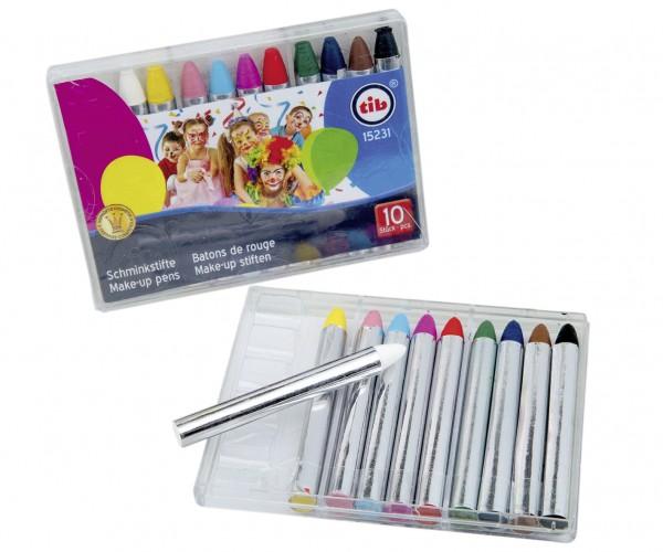 10 Karneval Schminkstifte Set Fancy Colours