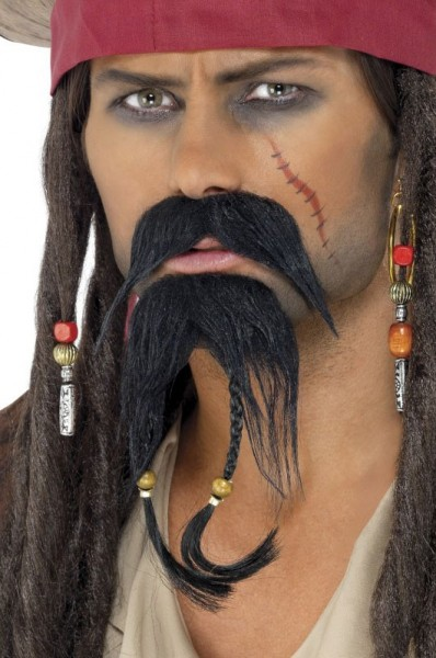 Barbe de pirate avec tresses et perles