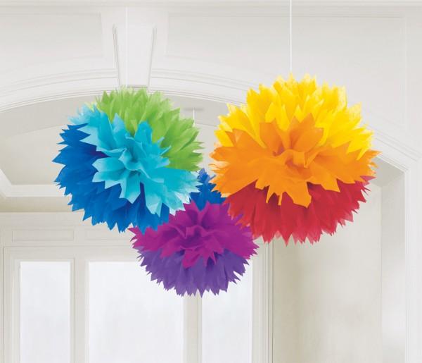 3 Romance pom poms rainbow colored