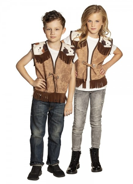 Cow stain fringed vest for kids