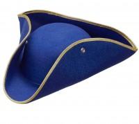 Blauer Musketier Dreispitz Hut