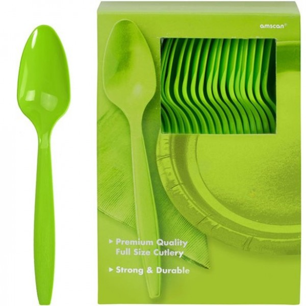 100 lysegrønne plastiske skeer