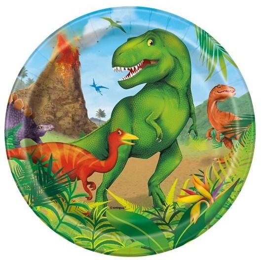 8 papierowych talerzy Dino Adventure 18 cm