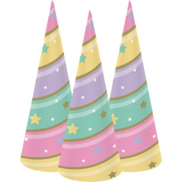 8 Golden Unicorn party hats 18.5cm