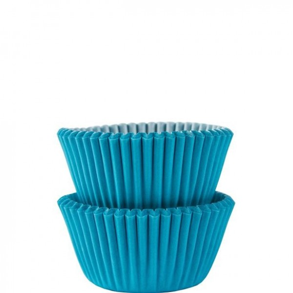 100 Caribbean blue mini muffin cases 3cm