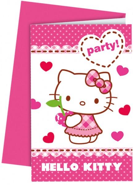 6 Hello Kitty Sweet Cherry Einladungskarten 14 x 9cm