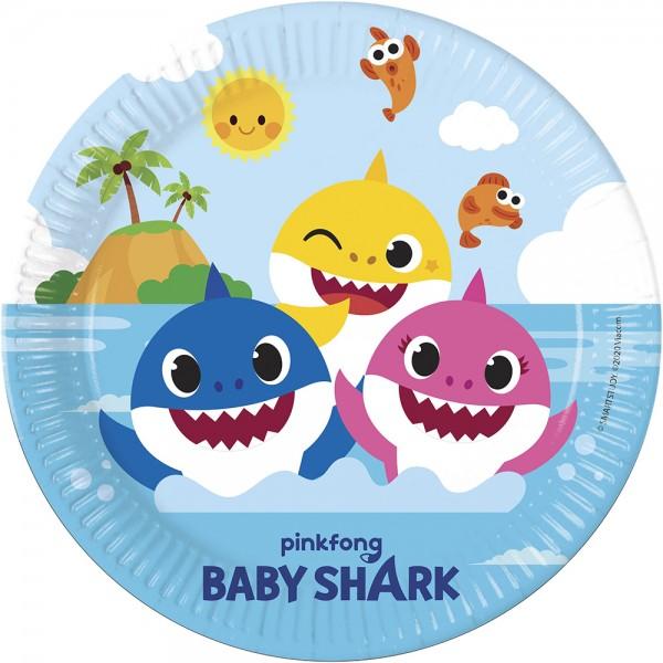 8 assiettes en papier Baby Shark Fun in the Sun 23cm