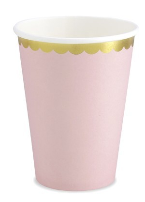 6 Candy Party Paper Cups Pastel Pink 220ml