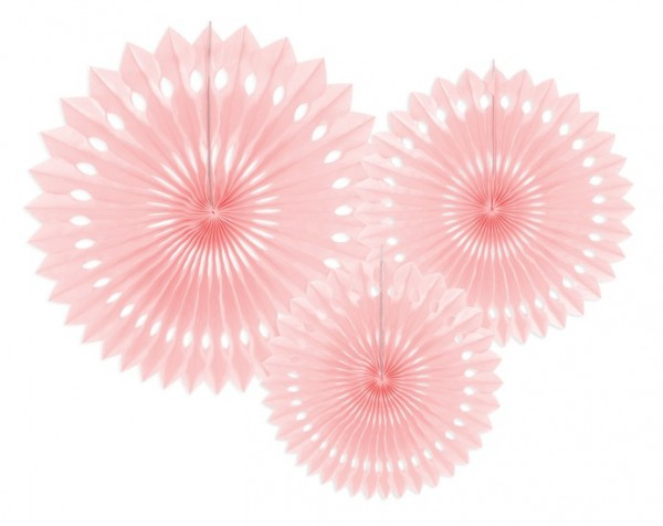 3 Hanging Paper Rosette Decorations Pastel Pink