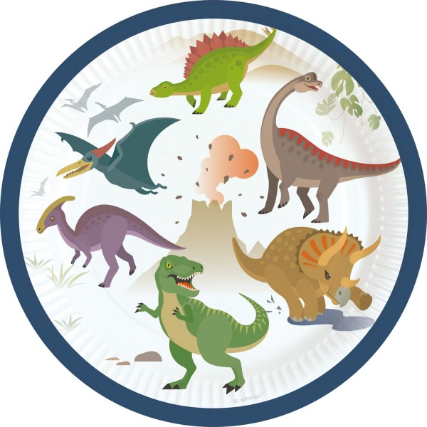 8 Happy Dinosaur papieren borden 18cm