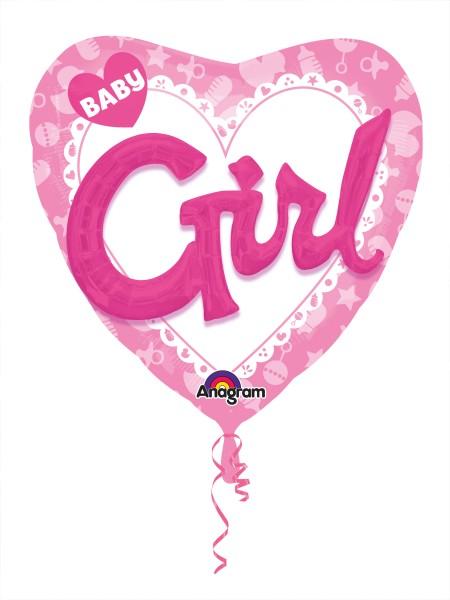 Ballon coeur bébé fille 3D