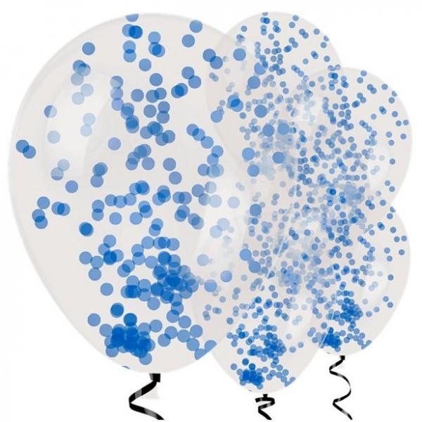 6 ballons confettis bleus Surprise 28cm